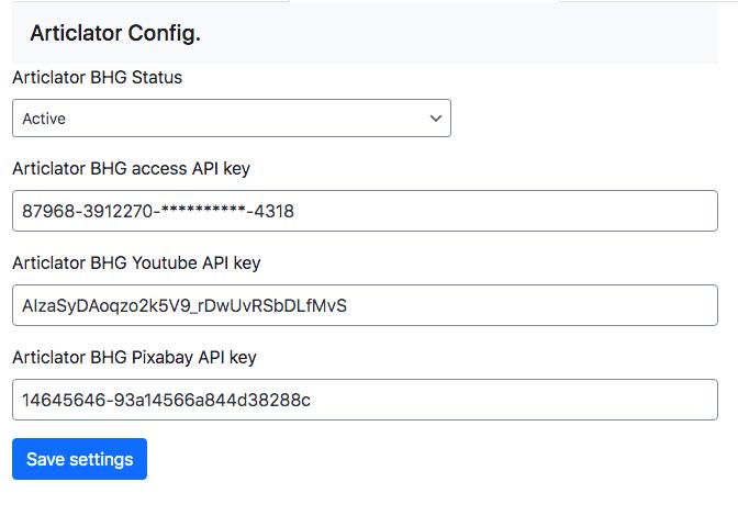 Articlator BHG API keys configurations.