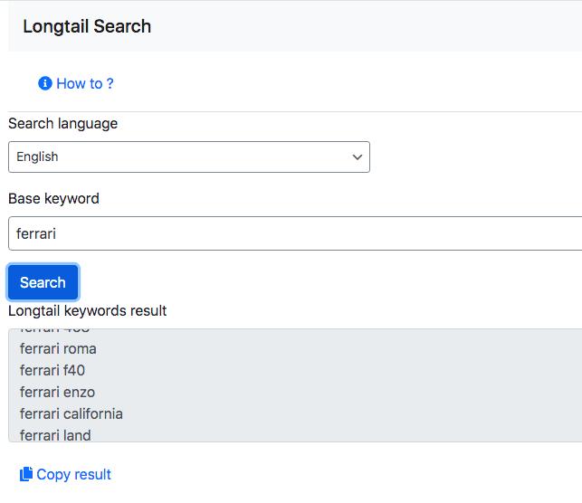 Articlator BHG longtail keywords search tool.